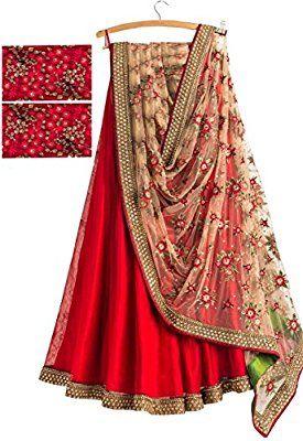 Velenton Women's Red Silk Attractive Fusion Dupatta Saree [SL 48 (VFP_B)]