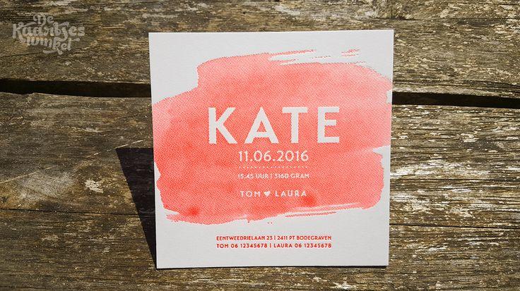 Letterpress geboortekaartje – Kate