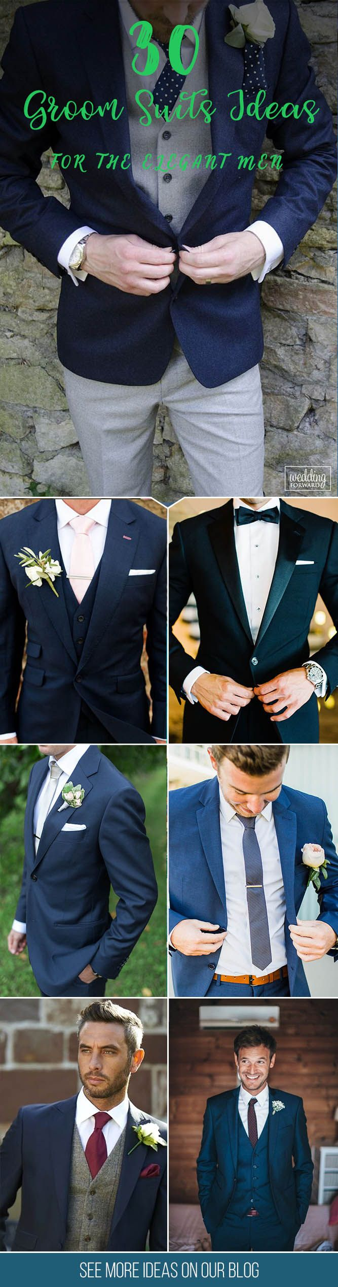 30 The Most Popular Groom Suits ❤ The choice of groom suits becomes one of the most important events. The perfect suit well fits a groom and suits him, reflects his personality. See more:    http://www.weddingforward.com/groom-suits/ #groom #groomsman