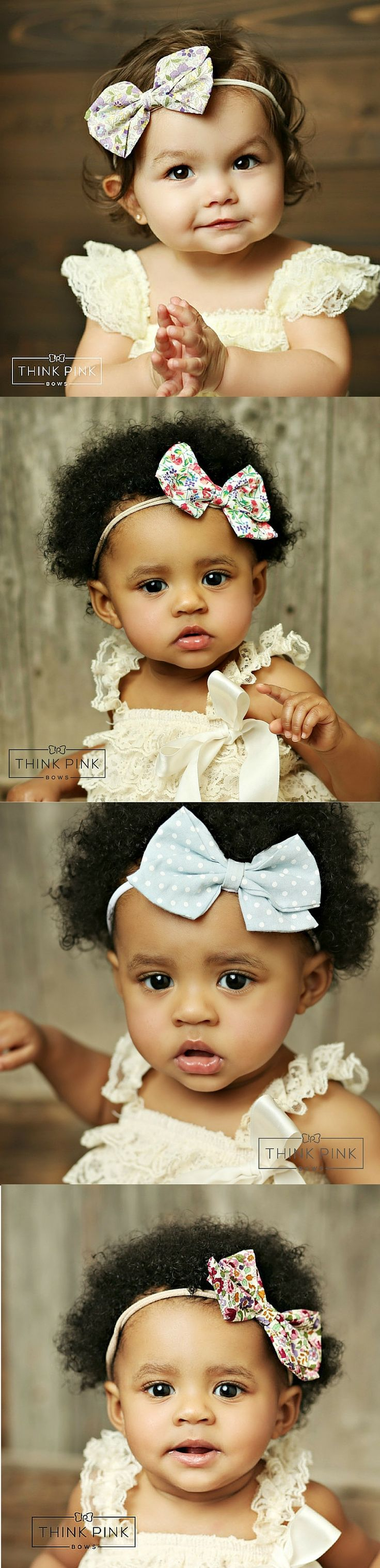 These skinny nylon headbands are so soft and stretchy they will not leave any marks on your babies head. Elegant and timeless! Explore hairbands for little girls at http://thinkpinkbows.com/products/vivian-style-boutique-bow-on-skinny-nylon-headband-28-styles-available | Kids Fashion