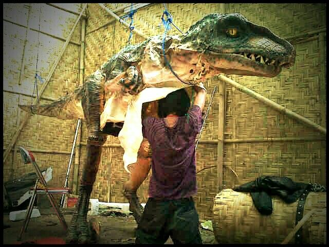 surgical operation of animatronik dinosaur.