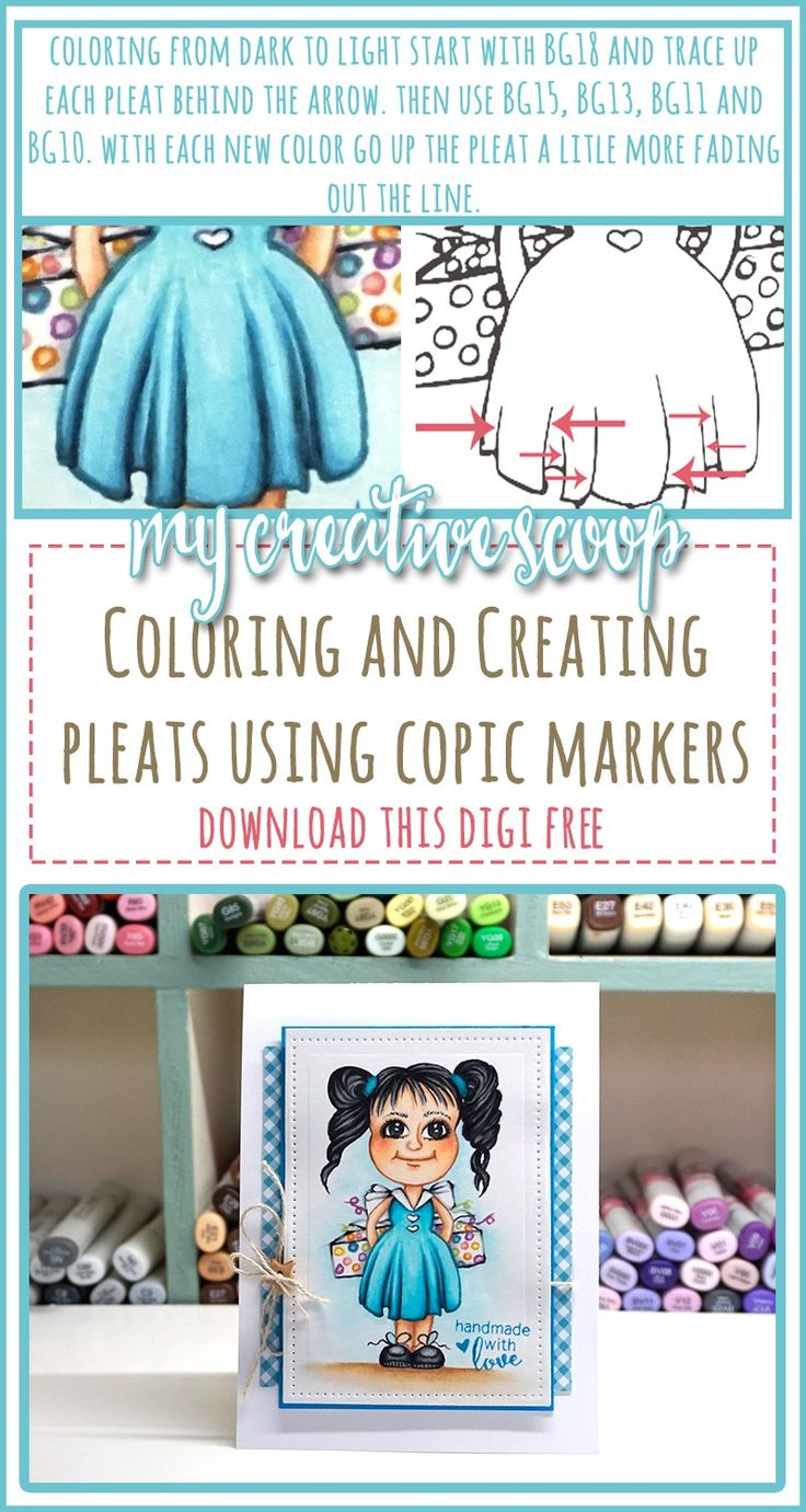 creating and coloring pleats using copic markers free digi