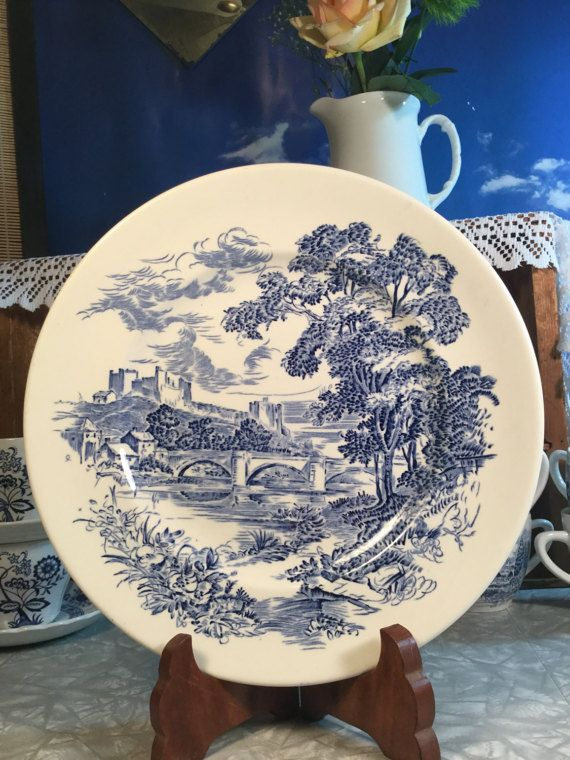 Countryside blue and white transferware Wedgwood by VeryUsVintage