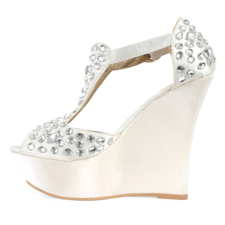 Details About NEW WOMENS IVORY SATIN DIAMANTE LADIES PLATFORM BRIDAL WEDGE HEEL SHOES SIZE 3 8