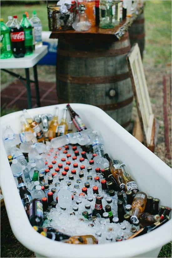 vintage bath tub for drinks at wedding