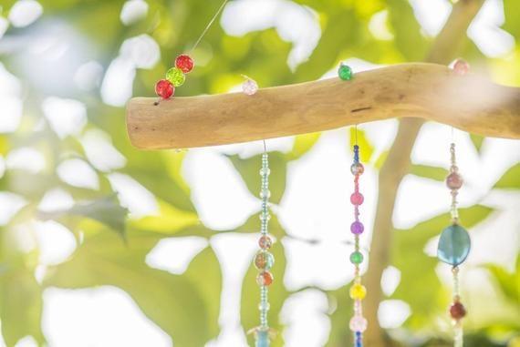 Wooden Wind Chime Beaded Hanging Mobile Bead Rainbow Suncatcher
