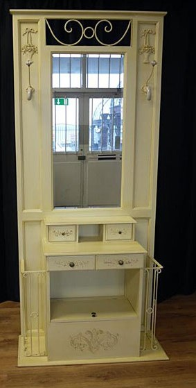 Antiqued Cream Hall Stand with Mirror | Furniture | Reed Interiors Furniture
