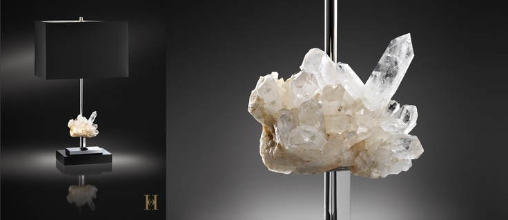 "Mountain diamond  Its name comes from the Latin word ""krystallos"", or ice.  Because of its pristine purity and high gloss meant that he was often identified with the diamond.    Each element is hand made, nickel plated.  Silk lampshade."