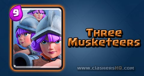 Find out all about the Clash Royale Three Musketeers Card. How to get Three Musketeers & attack/counter Three Musketeers effectively.