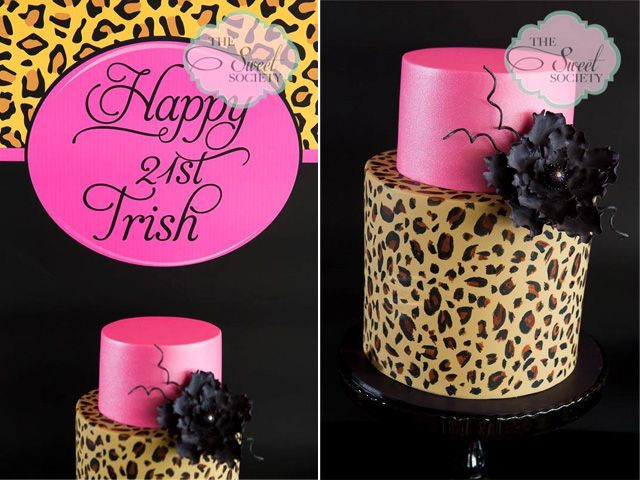 'Pink Leopard' 21st Birthday Party by The Sweet Society all printables from 2 Love Birds  #cake #leopard #party #desserttable #21stbirthday #hotpink #2lovebirds #printables