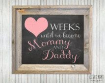 Baby Countdown Sign, Pregnancy Countdown Sign, Gift for Expecting Parents - DIY, Printable, Instant Download