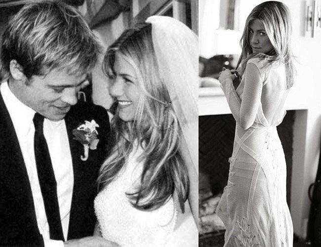 Wedding Gown Jennifer Aniston Wedding Dress Brad Pitt In 2020 Jennifer Aniston Wedding Jennifer Aniston Wedding Dress Jennifer Aniston Pictures