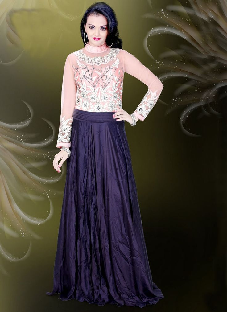 Buy Perfect Faux Crepe Navy Blue Readymade Gown