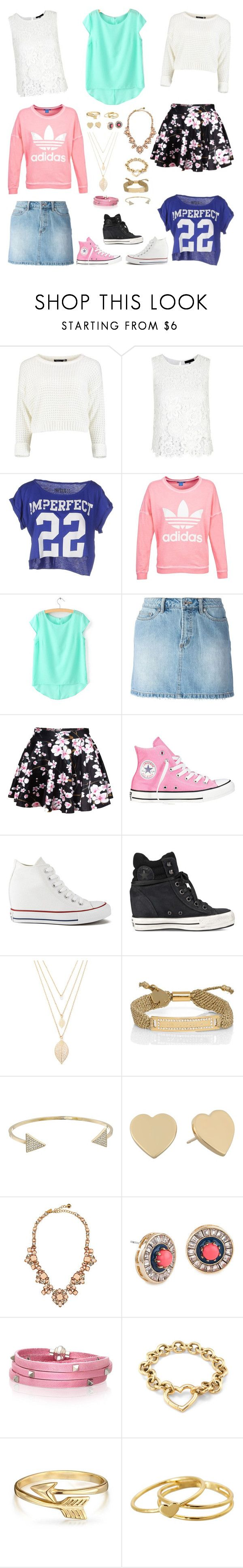 """Bella And The Bulldogs - Bella Inspired Outfits"" by verostyle16 ❤ liked on Polyvore featuring !M?ERFECT, adidas, Marc by Marc Jacobs, Converse, Forever 21, Kate Spade, Michael Kors, Lele Sadoughi, Sif Jakobs Jewellery and Tiffany & Co."