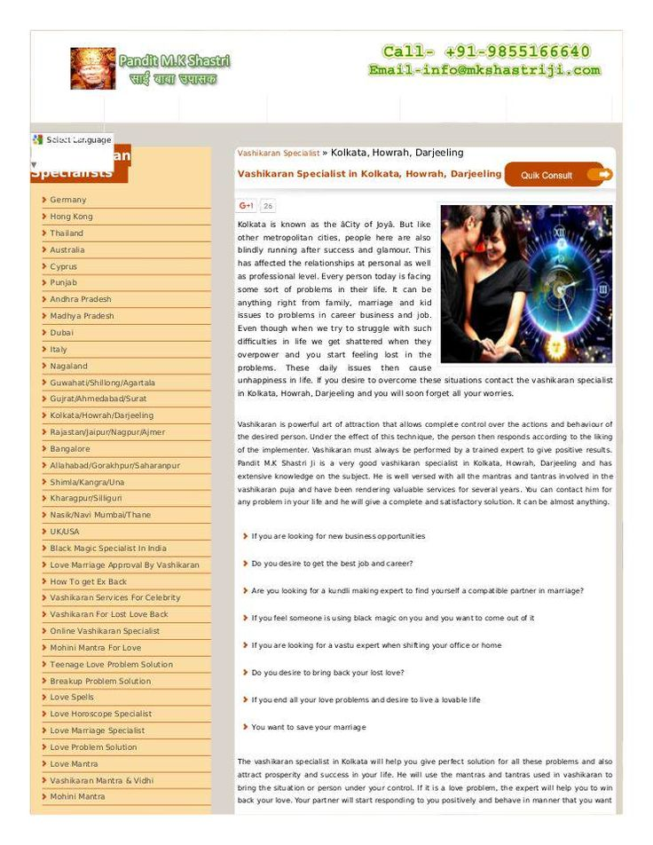 Pandit M.k Shastri Ji assist you to with love, career, and relation solutions. He is  the best vashikaran specialist in Kolkata Howrah Darjeeling ☎ +91-98551-66640  #VashikaranSpecialistInKolkata, #VashikaranSpecialistInHowrah, #VashikaranSpecialistInDarjeeling