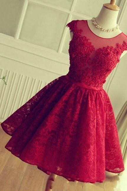 Short Burgundy Homecoming Dress, 2016 Lace Homecoming Dress, Vintage Red Wine Short Prom Dress, Sexy Sheer Short Cocktail Dress, 2016 Burgundy Prom Dress, Short Cap Sleeve Formal Party Dress, Junior Party Cocktail Dress 2016,8th Grade Homecoming Dress, A Line Cheap Homecoming Gowns,Sweet Lace Gala Club Dress, Dress For Junior Party, Short Lace Party Dress For High School