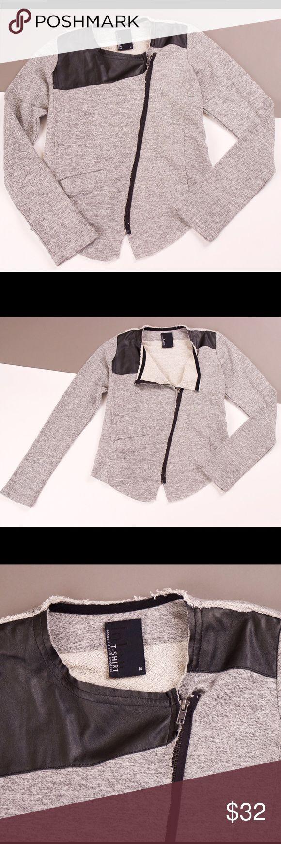 Dolan Left Coast gray black moto jacket Dolan left coast (t-shirt) gray moto jacket with faux leather shoulder detail. Zips up the front with asymmetrical zipper. Front pocket. Light cotton blend. Size medium   Shoulder-14 Sleeve-25 Bust-34 Length-26 dolan left coast Jackets & Coats