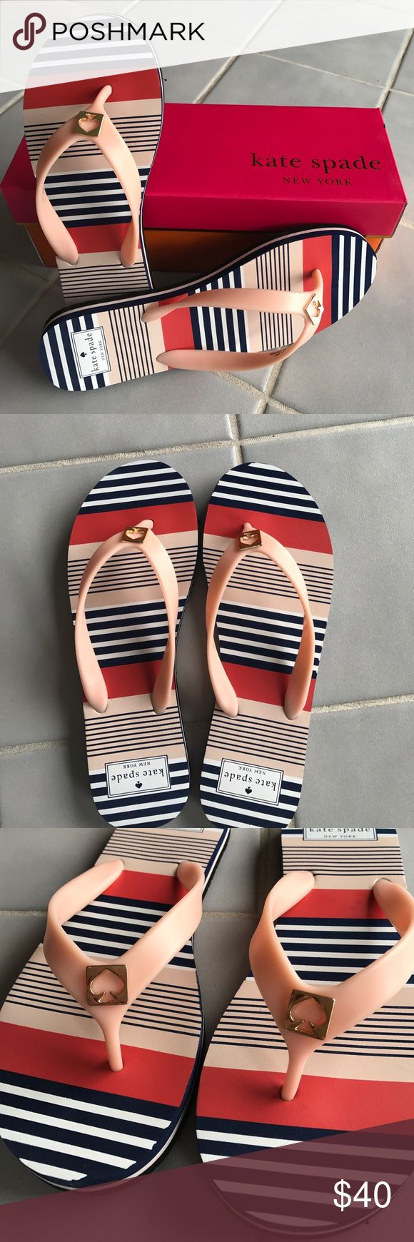 NWT Kate Spade Striped Sandals Size 8 ♠️ Brand new Kate Spade sandals in size 7-8! Fun striped pattern with the Kate Spade logo. Sandal size states it is an 8 but fits 7-8 as the pictures shows. kate spade Shoes Sandals