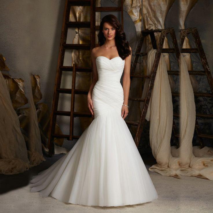 Chegada nova Ruched Tulle Mermaid vestido de noiva Lace Up branco / marfim se casar com vestidos vestidos de noiva venda quente em estoque alishoppbrasil
