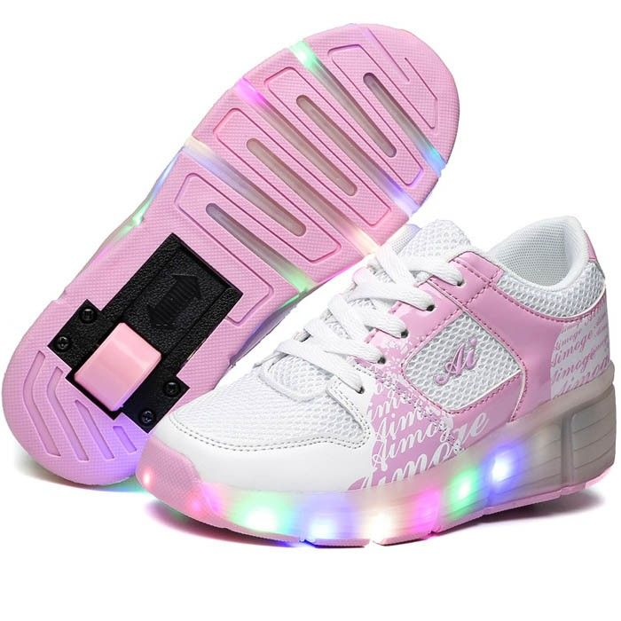 Chaussure Lumineuse À Roulette Rose & Blanche