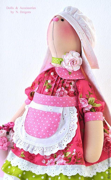 Купить Цветочница Фрея - фуксия, зайка, зайцы, игрушка зайка, зайка игрушка, зайка девочка