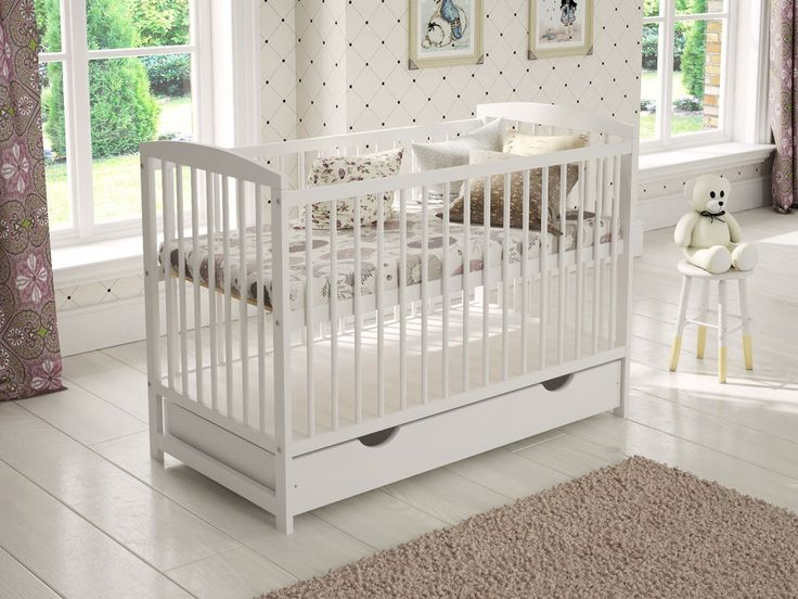 "Baby Cot Bed with Drawer White Junior Toddler Bed with Deluxe 4"" Foam Mattress in Baby, Nursery Decoration & Furniture, Cots & Cribs 