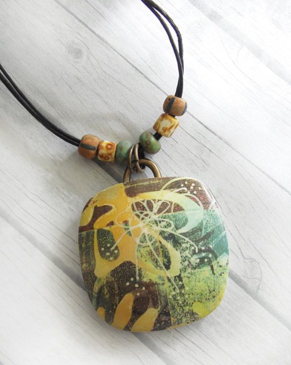 Polymer Clay Large Pendant Beach Jewelry featuring Abstract Tropical Design in Yellow, Green and Brown