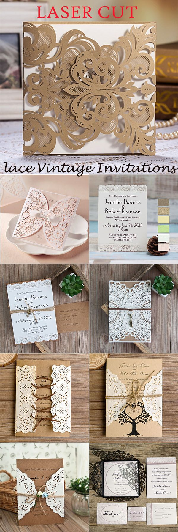 laser cut lace vintage wedding invitations
