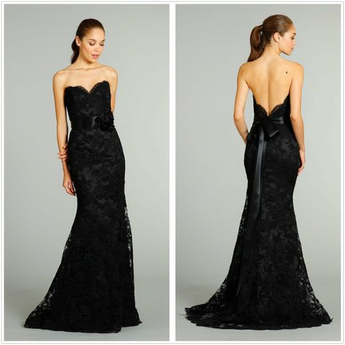 Details about 2015 long black mermaid evening ball gown for Black mermaid wedding dress