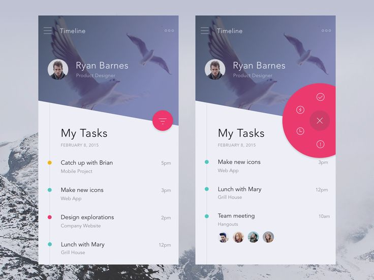 Bigger ux design – mobile view for task planer