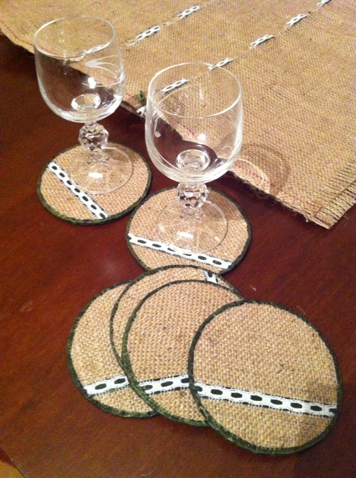 Burlap coasters with ribbon and lace