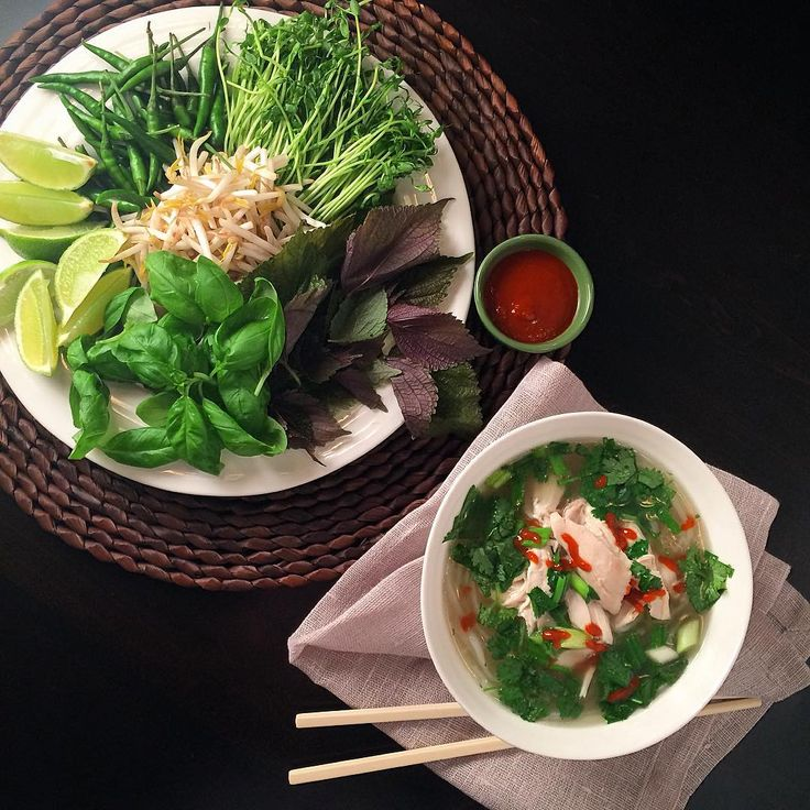 Fast faux Pho Ga for Pho'ur... Too much?   Chicken soup with vermicelli, scallions, cilantro and topped with choice of basil, mint, sprouts, pea shoots, chillies, limes and hot sauce. @zimmysnook