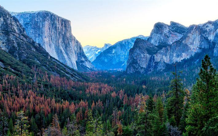 Download wallpapers 4k, Yosemite Valley, autumn, american landmarks, Yosemite National Park, forest, California, USA, America