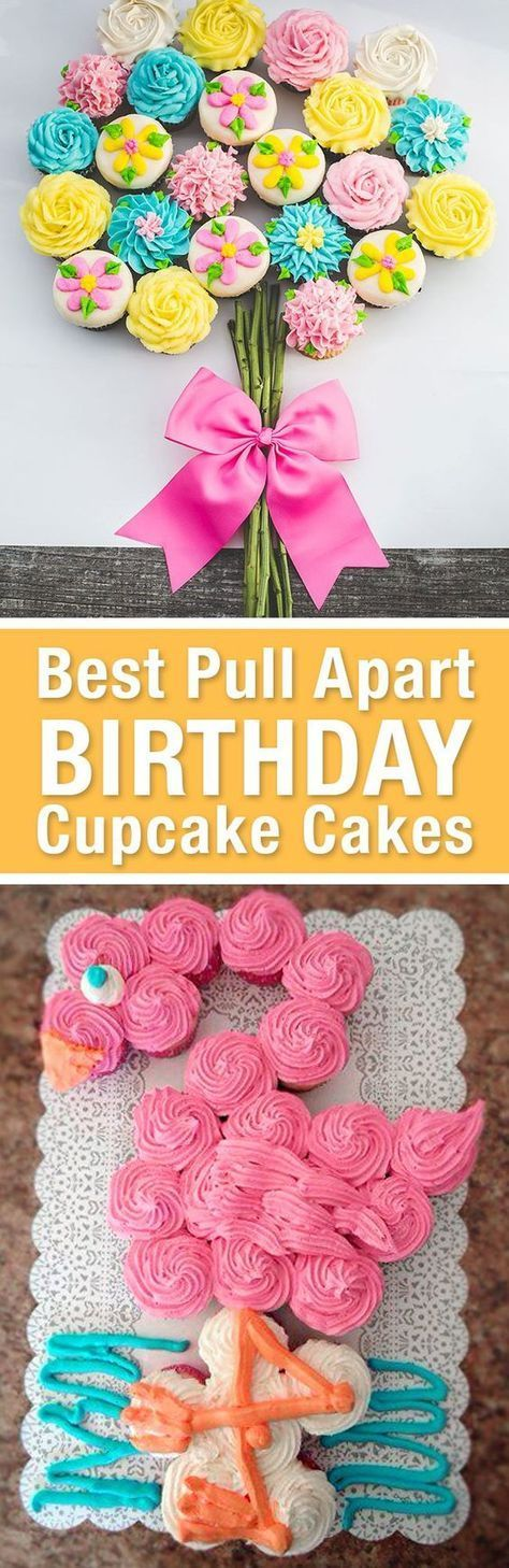 Best Birthday Pull Apart Cupcake Cakes. Simple creative cake inspiration for a birthday party celebration. http://LivingLocurto.com