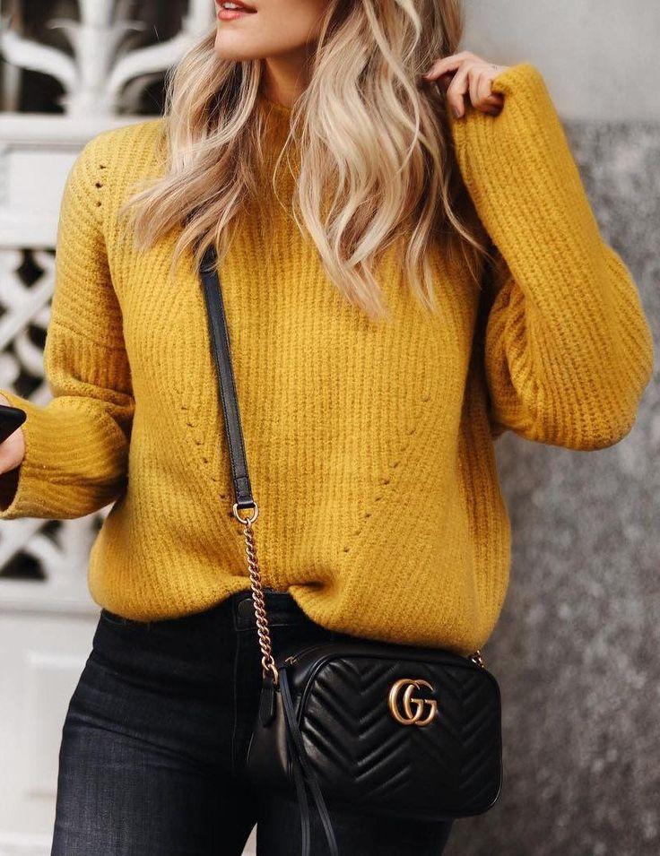 #winter #fashion /  Mustard Knit + Black Skinny Jeans + Black Leather Shoulder Bag