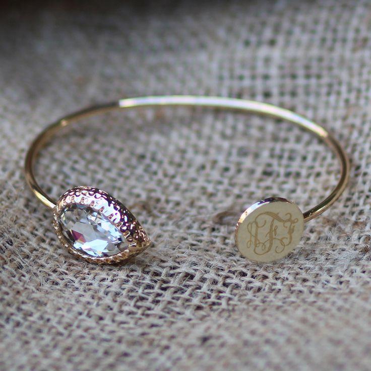 Marley Lilly Monogrammed Crystal Stone Teardrop Bracelet