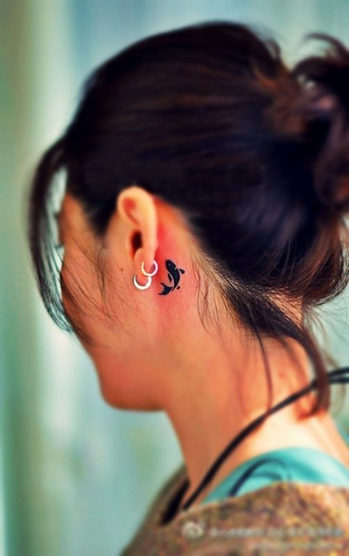 Small Koi Fish Tattoo Behind Ear