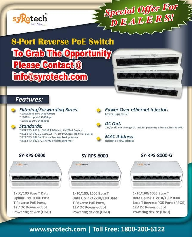 Ftth Passive Products By Syrotech Networks 8port Reverse Poe Switch Networking Fiber Optic Power Supply