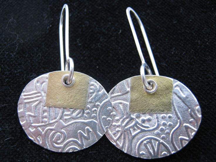 22k gold & Silver Earrings   Made by New Zealand Artist Janine Cairns-Michael  $173 NZD  see more of her work here  Janine Cairns-Michael