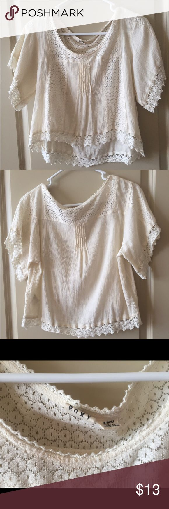 Peasant Crochet Crop Top Wears like a boxy crop top. Wide neckline. Very comfortable and cool in the summer. Looks great with high waisted shorts! Gently used Roxy Tops Crop Tops