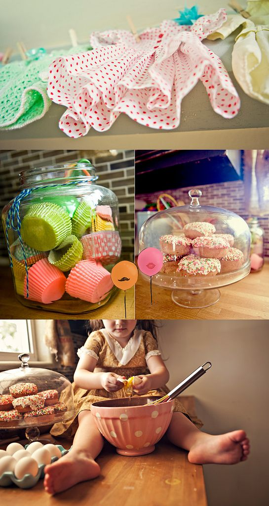 LOVE the details in this kitchen and home...and the cupcake liners in glass jar...so cute!