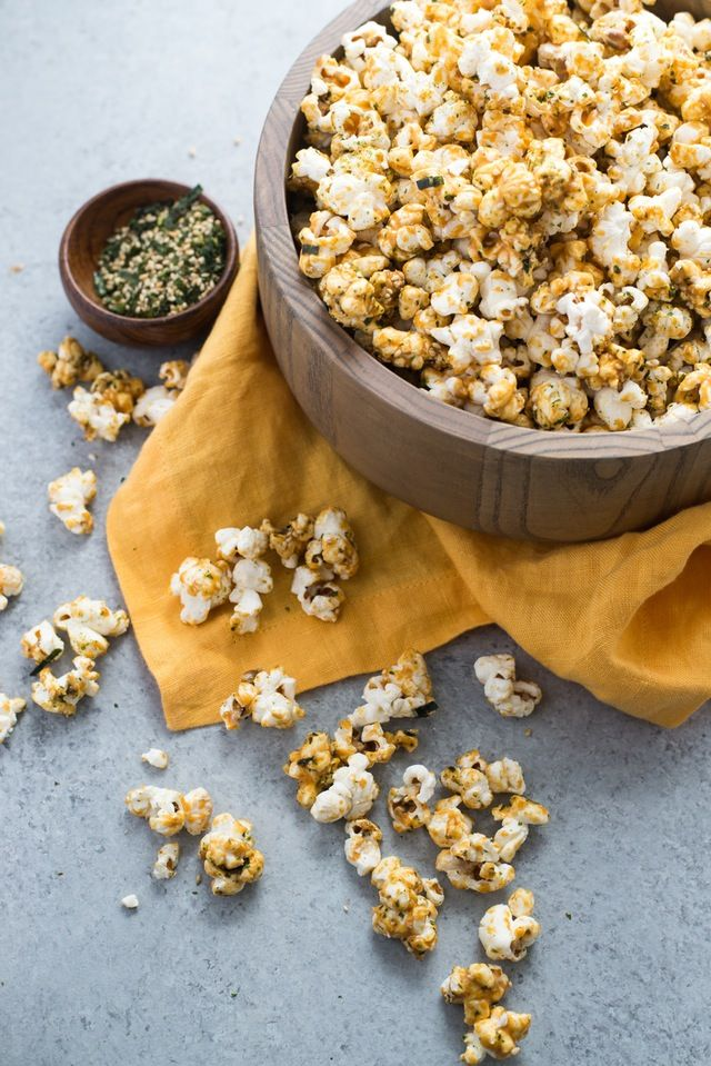 A few years ago, I tried a Japanese-inspired version of Chex Mix that used furikake, that delicious seasoning of sesame seeds, spices, seaweed, and dried fish. The crunchy cereal coated with furikake blew my mind, so why couldn't the same idea be applied to popcorn? Here, I've turned kettle corn on its head and given it a fun Japanese twist that you can add to the movie night snacking rotation.