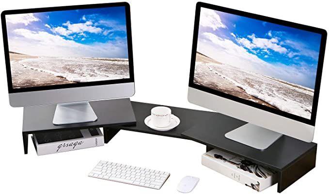 5rcom Dual Monitor Stand 3 Shelves Desk Riser In 2020 Desk Riser Dual Monitor Stand Monitor Stand