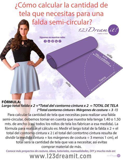 Para que no te falte ni te sobre tela, aquí te decimos como calcular la cantidad de tela que necesitas para poder realizar una falda semi circular