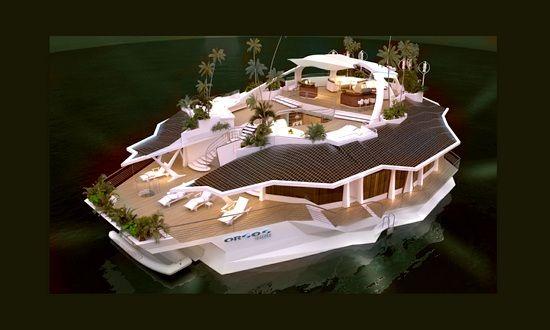 lussuosa isola galleggiante