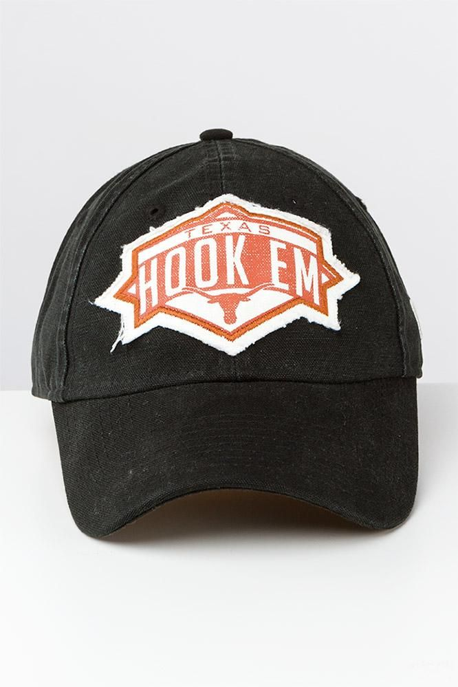 Always be prepared to show off your Texas Longhorn spirit with the Texas Hook Em Patch Adjustable Cap! Order this rustic, well-worn hat online today!