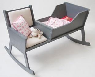 As you rock, the crib rocks also. Love this idea!