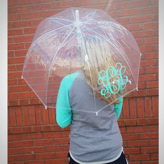 Hey, I found this really awesome Etsy listing at https://www.etsy.com/listing/221425774/monogram-clear-dome-umbrella
