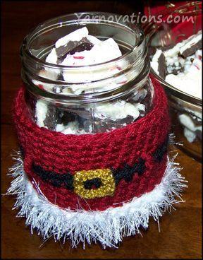 Peppermint Bark Recipe and Santa Jar Cozy. ☀CQ #crochet #christmas   http://www.pinterest.com/CoronaQueen/crochet-christmas-corona/