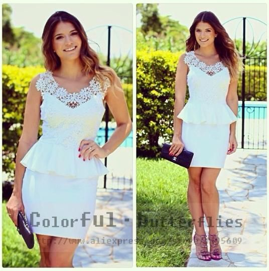 new 2014 summer white women fashion brand  chiffon lace dress vestidos sexy Flounced dress